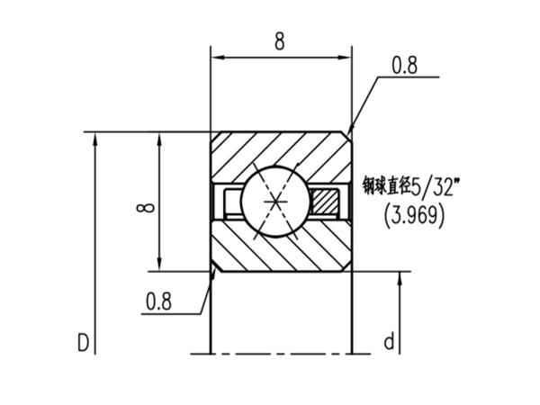 公制四点接触球轴承(厚度8mm)