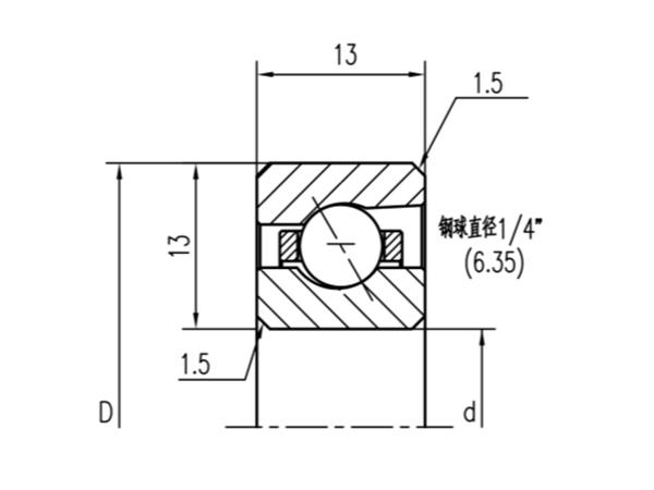 公制角接触球轴承(厚度13mm)
